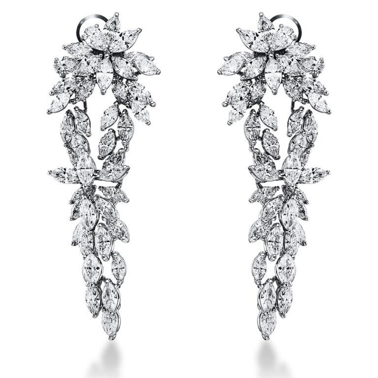 18 kt fehérarany fülbevaló 84 gyémánttal 2K282W8-1