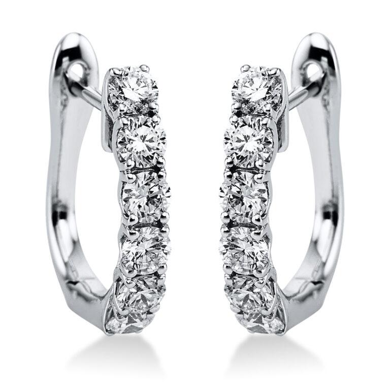 18 kt fehérarany karika és huggie 12 gyémánttal 2K008W8-1