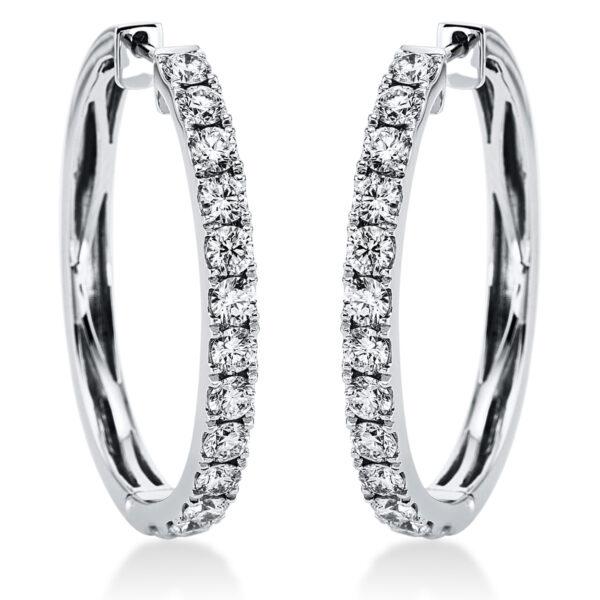 18 kt fehérarany karika és huggie 26 gyémánttal 2D695W8-2