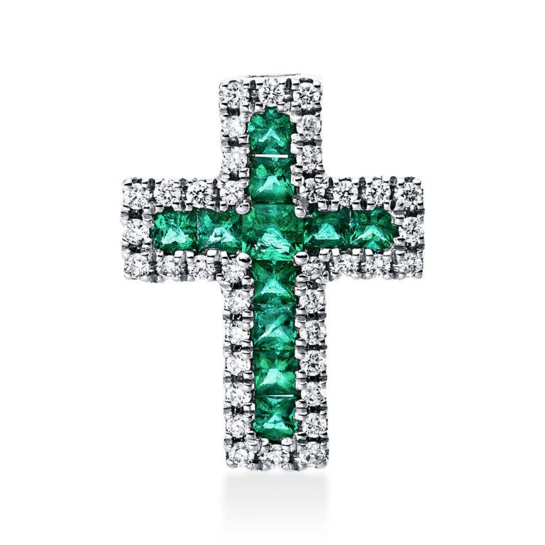 18 kt fehérarany medál 38 gyémánttal