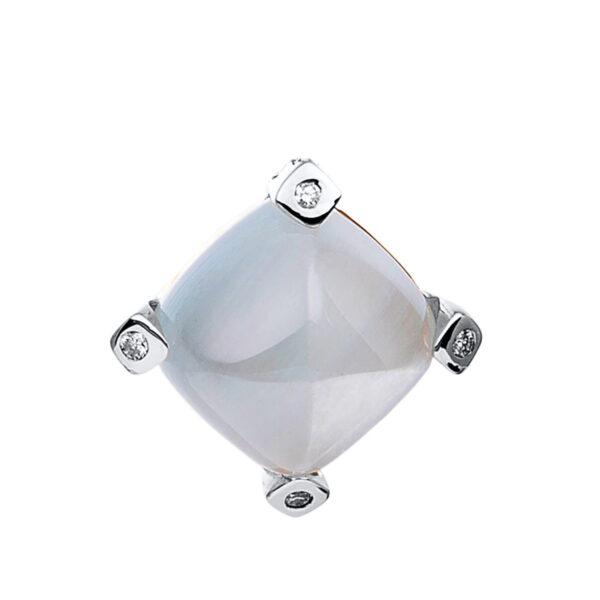 18 kt fehérarany medál 4 gyémánttal