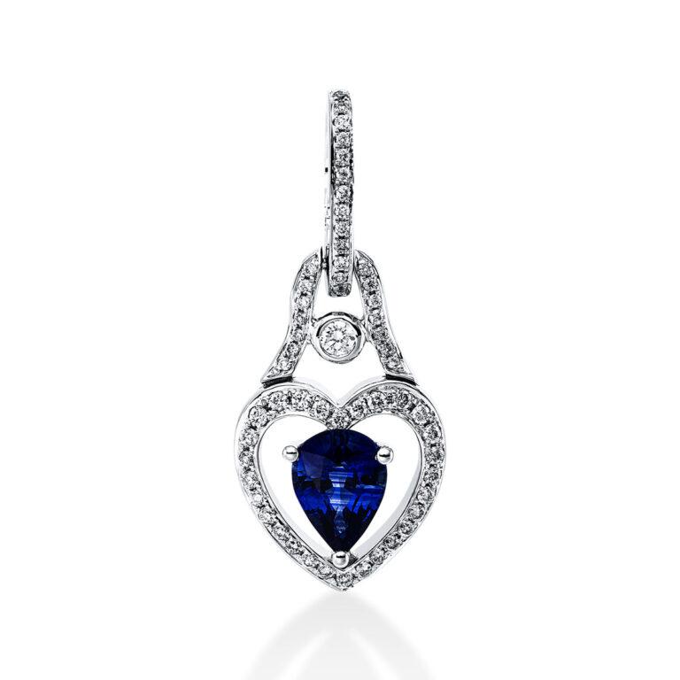 18 kt fehérarany medál 56 gyémánttal