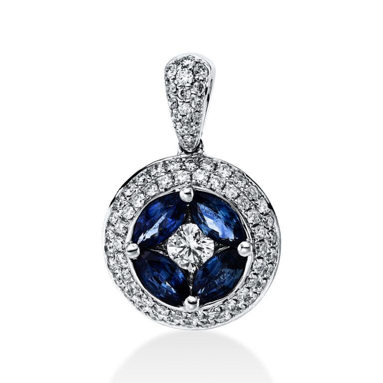 18 kt fehérarany medál 73 gyémánttal