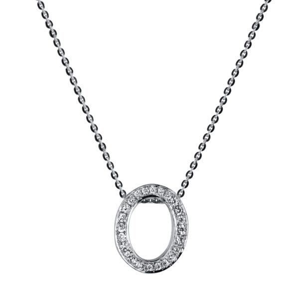 18 kt fehérarany nyaklánc 24 gyémánttal 4A182W8-1
