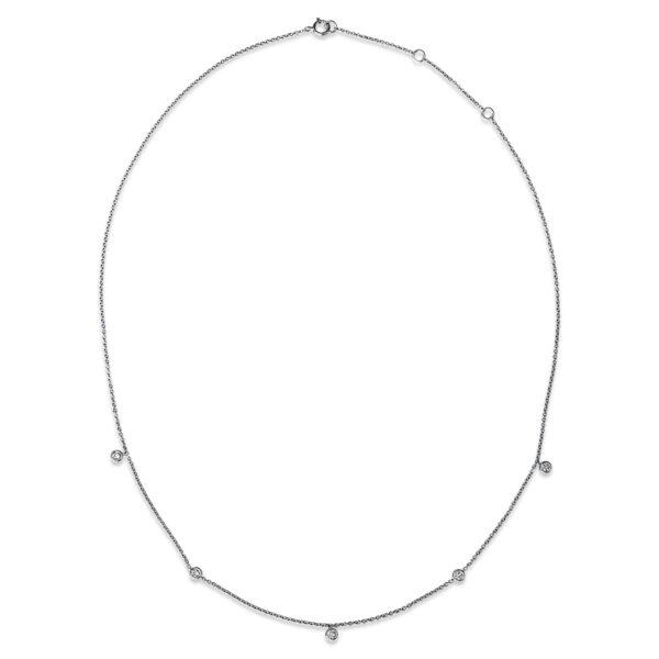 18 kt fehérarany nyaklánc 5 gyémánttal 4G246W8-1