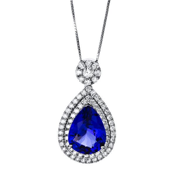 18 kt fehérarany nyaklánc 68 gyémánttal