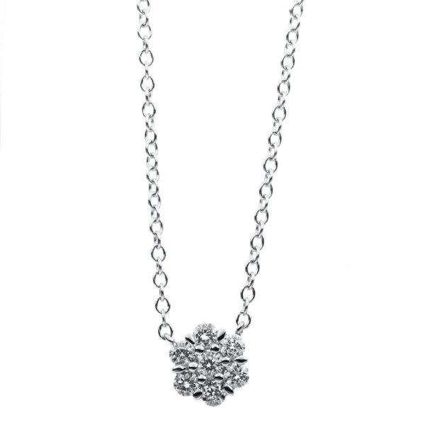 18 kt fehérarany nyaklánc 7 gyémánttal 4A870W8-1