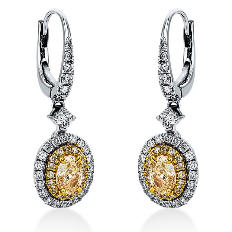 18 kt fehérarany / sárga arany fülbevaló 88 gyémánttal 2K241WG8-1