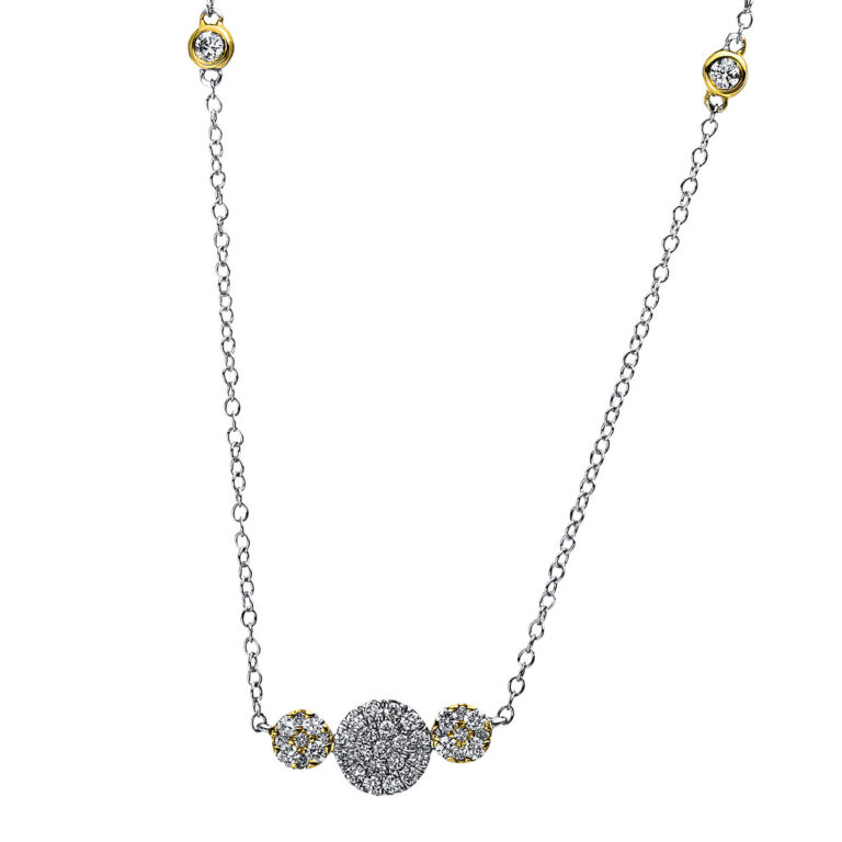 18 kt fehérarany / sárga arany nyaklánc 39 gyémánttal 4A477WG8-1