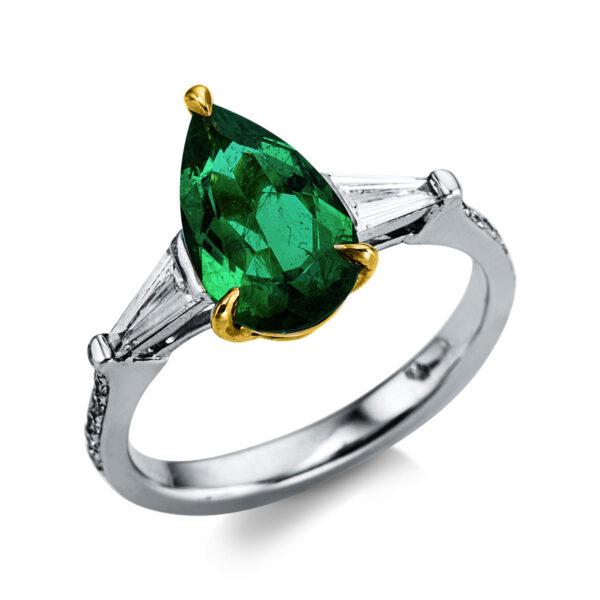 18 kt fehérarany / sárga arany színes drágakő 20 gyémánttal