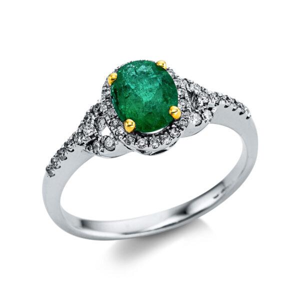 18 kt fehérarany / sárga arany színes drágakő 42 gyémánttal