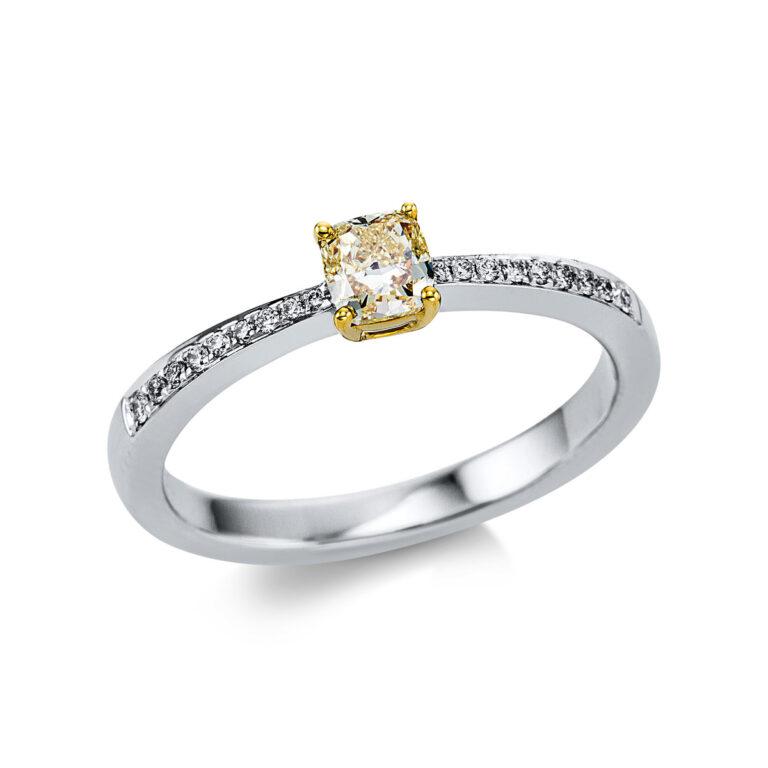 18 kt fehérarany / sárga arany szoliter oldalkövekkel 19 gyémánttal 1W270WG854-1