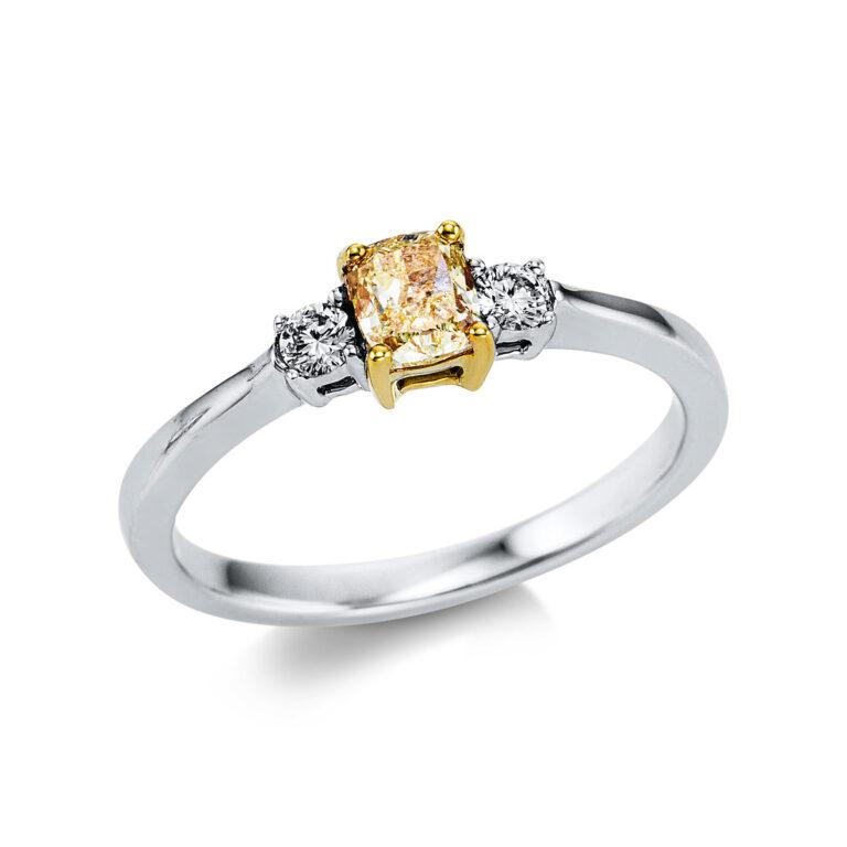 18 kt fehérarany / sárga arany szoliter oldalkövekkel 3 gyémánttal 1W269WG854-1