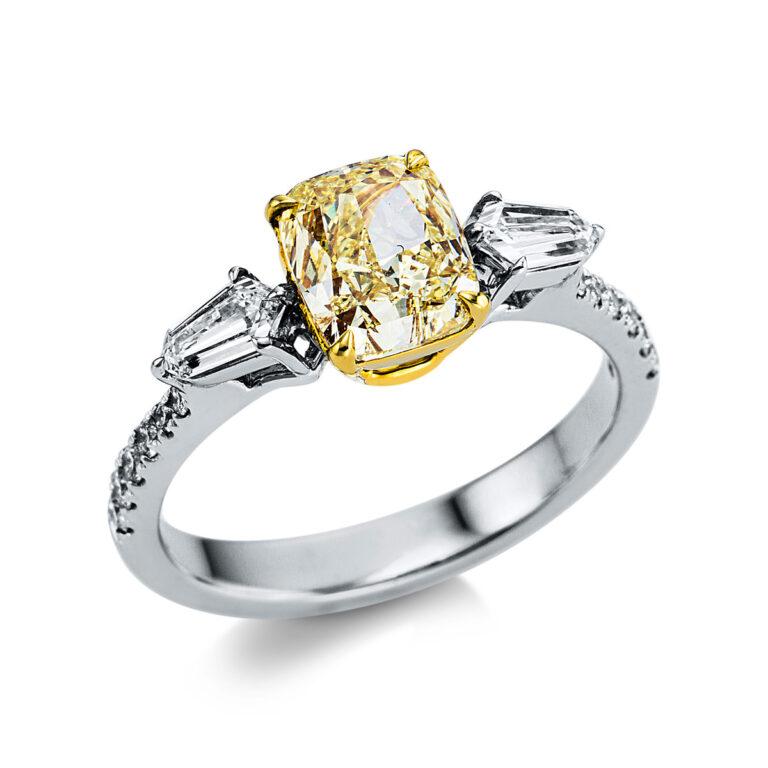 18 kt fehérarany / sárga arany több köves gyűrű 15 gyémánttal 1X014WG853-1