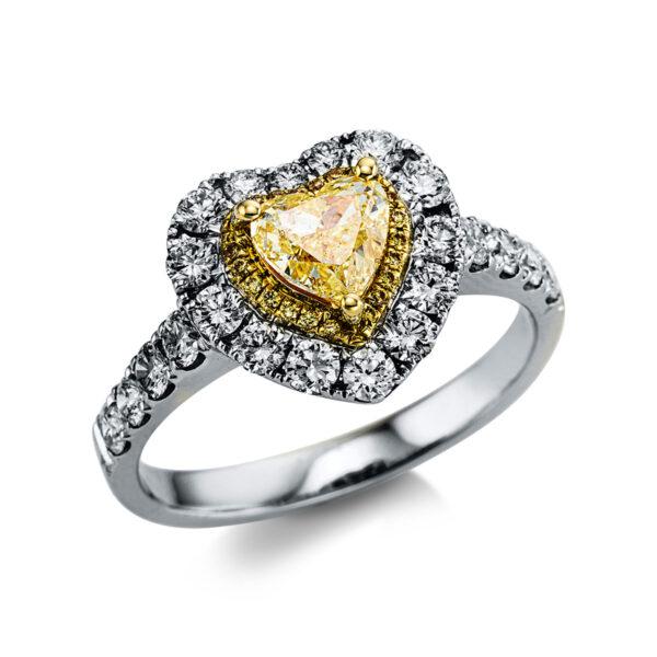 18 kt fehérarany / sárga arany több köves gyűrű 44 gyémánttal 1X036WG854-1