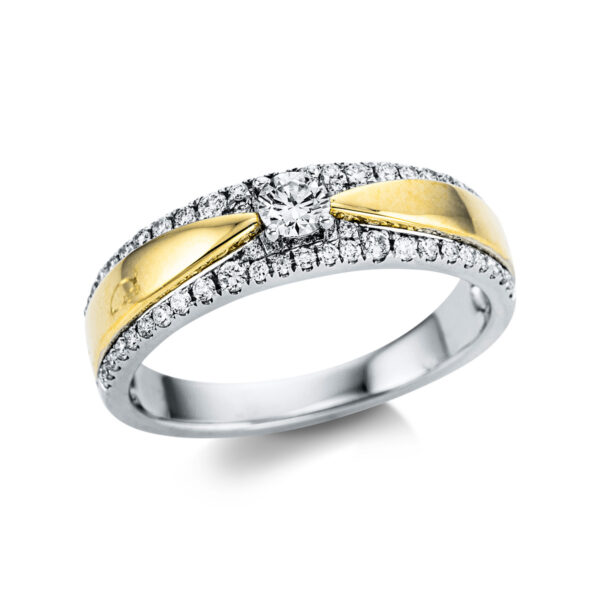 18 kt fehérarany / sárga arany több köves gyűrű 55 gyémánttal 1W792WG854-1
