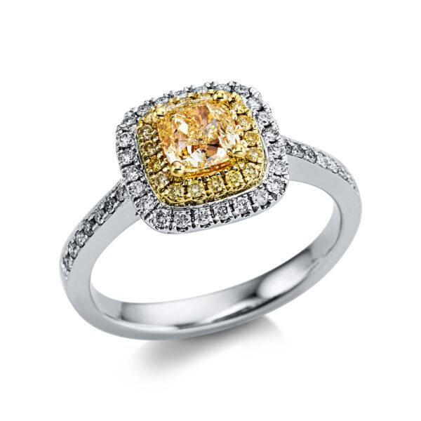 18 kt fehérarany / sárga arany több köves gyűrű 57 gyémánttal 1X035WG854-1