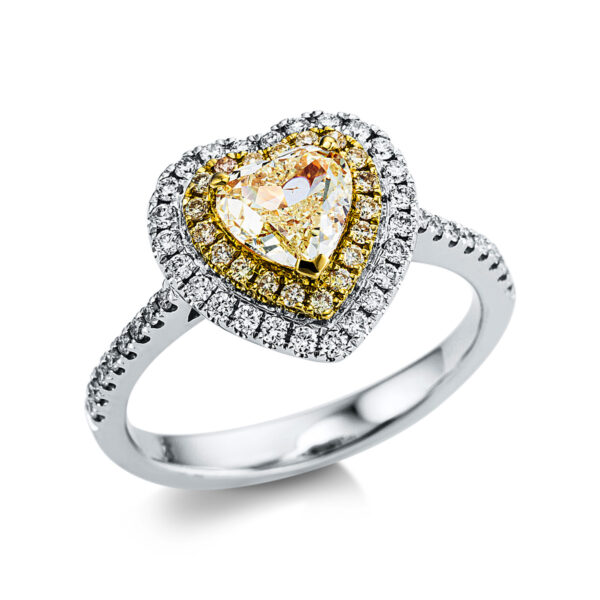 18 kt fehérarany / sárga arany több köves gyűrű 61 gyémánttal 1X031WG854-1