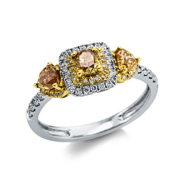 18 kt fehérarany / sárga arany több köves gyűrű 69 gyémánttal 1X053WG854-1
