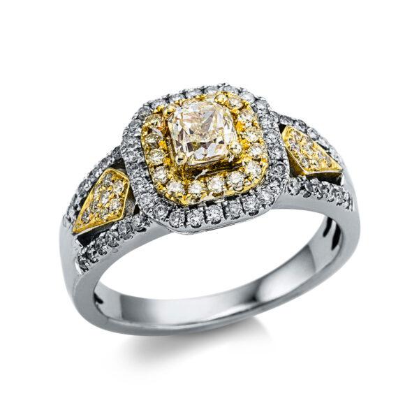 18 kt fehérarany / sárga arany több köves gyűrű 83 gyémánttal 1X038WG854-1