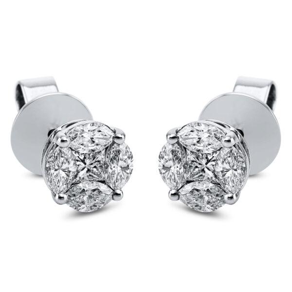 18 kt fehérarany steckeres 10 gyémánttal 2K009W8-1