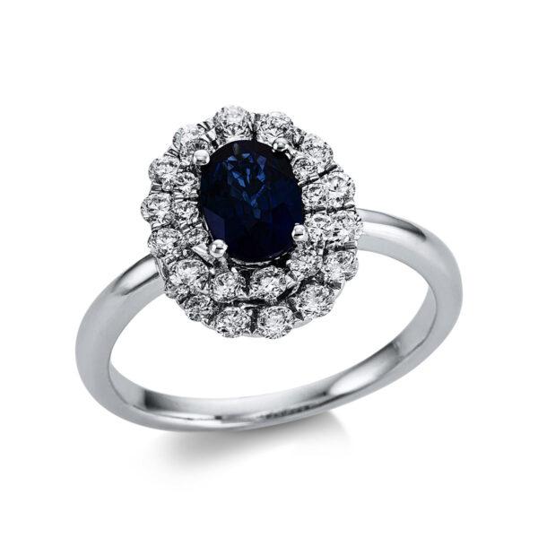 18 kt fehérarany színes drágakő 30 gyémánttal