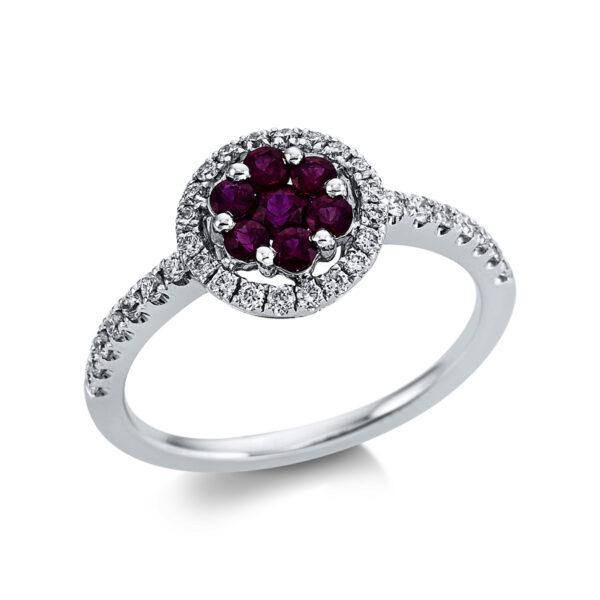 18 kt fehérarany színes drágakő 34 gyémánttal