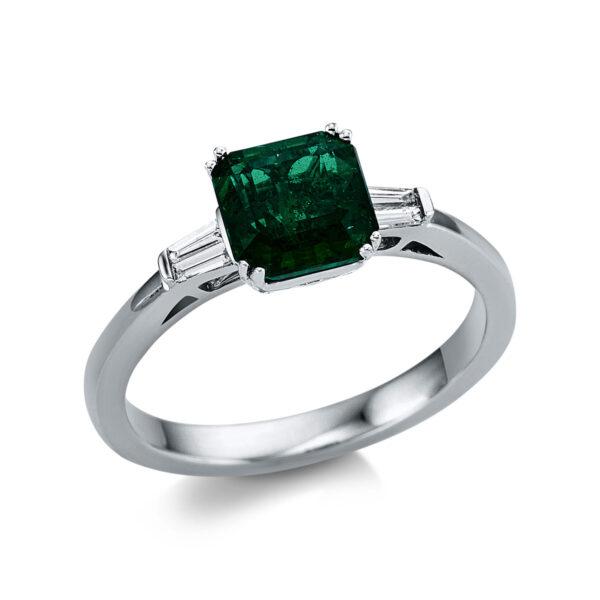 18 kt fehérarany színes drágakő 4 gyémánttal