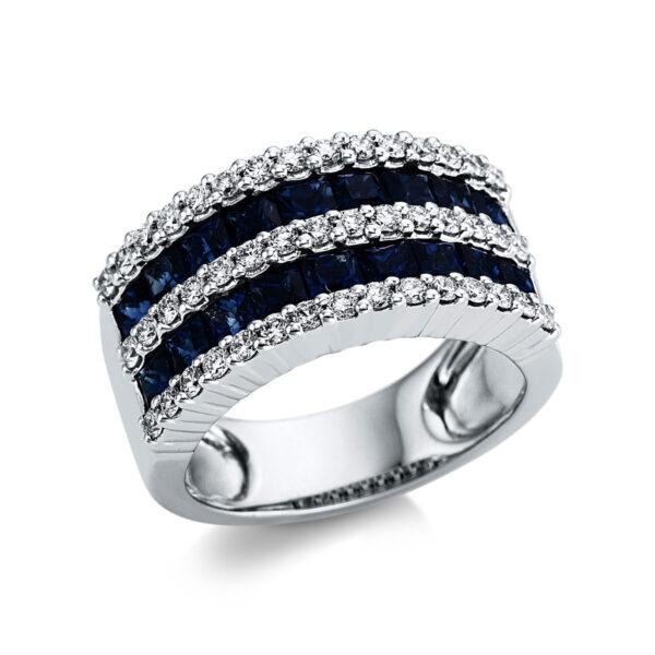 18 kt fehérarany színes drágakő 45 gyémánttal