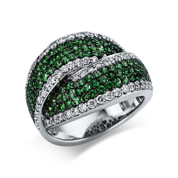 18 kt fehérarany színes drágakő 66 gyémánttal