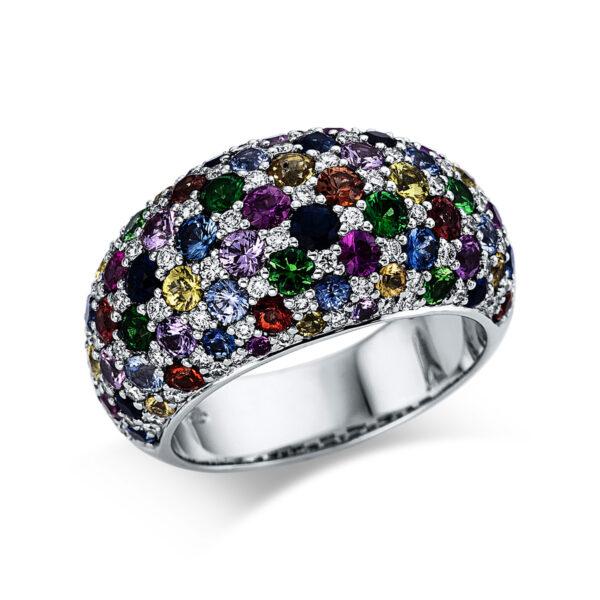 18 kt fehérarany színes drágakő 92 gyémánttal