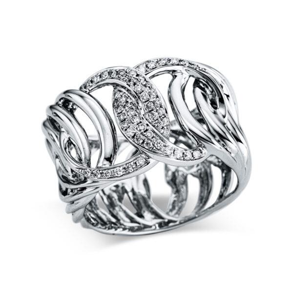 18 kt fehérarany több köves gyűrű 50 gyémánttal 1X039W854-1
