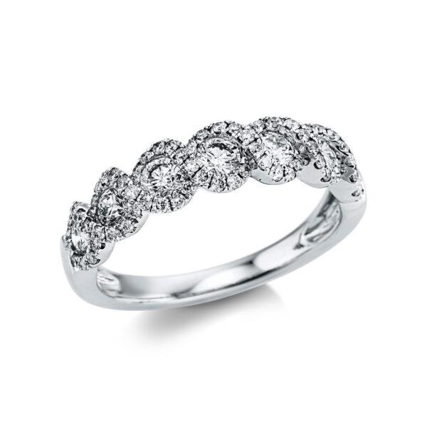 18 kt fehérarany több köves gyűrű 75 gyémánttal 1X043W854-1