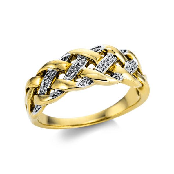 18 kt sárga arany / fehérarany több köves gyűrű 14 gyémánttal 1W849GW854-1