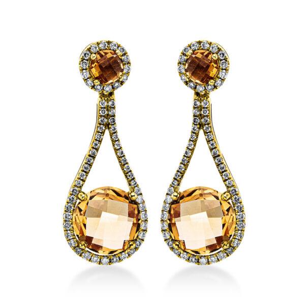 18 kt sárga arany fülbevaló 114 gyémánttal