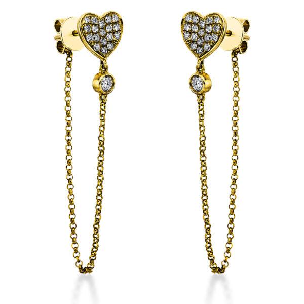 18 kt sárga arany fülbevaló 38 gyémánttal 2K050G8-1