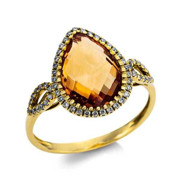 18 kt sárga arany színes drágakő 58 gyémánttal
