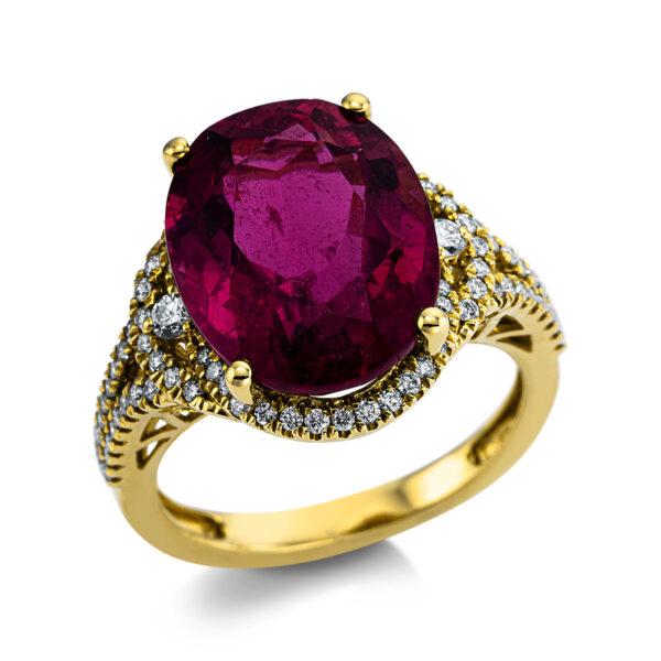 18 kt sárga arany színes drágakő 80 gyémánttal