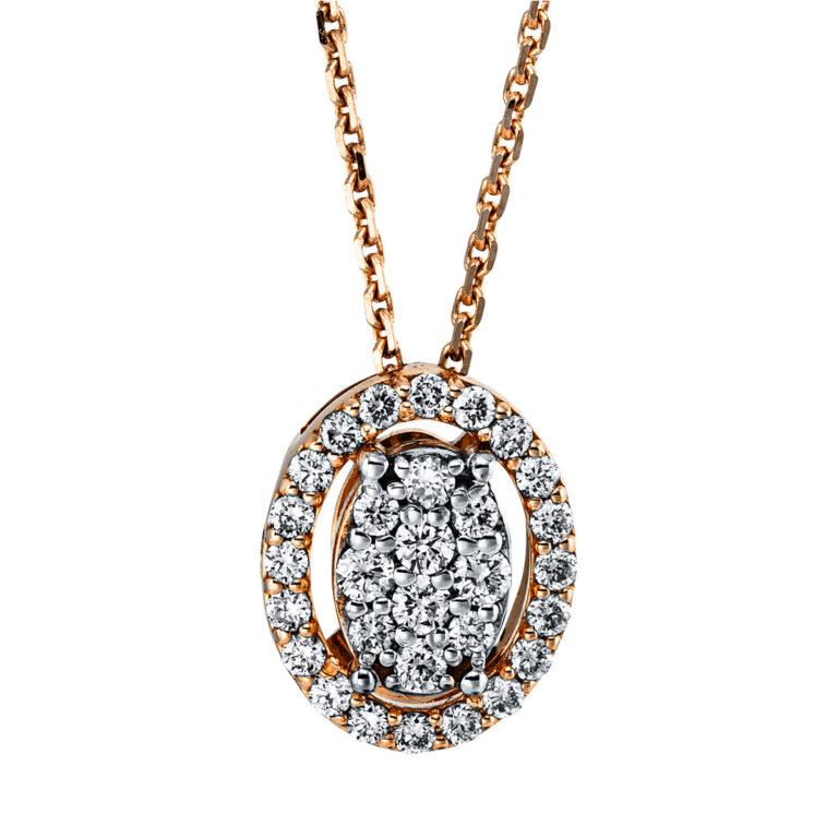 18 kt vörös arany / fehérarany nyaklánc 30 gyémánttal 4G347RW8-1