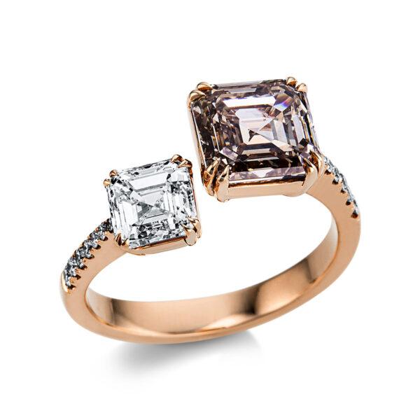 18 kt vörös arany / fehérarany több köves gyűrű 16 gyémánttal 1X016RW853-1