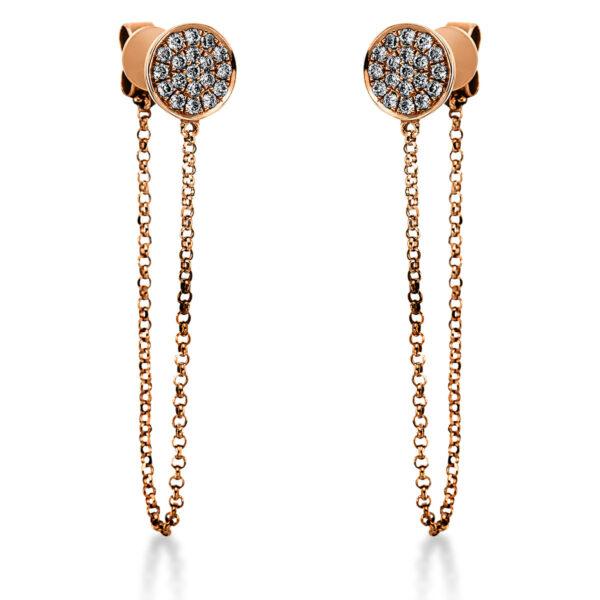 18 kt vörös arany fülbevaló 38 gyémánttal 2K051R8-1