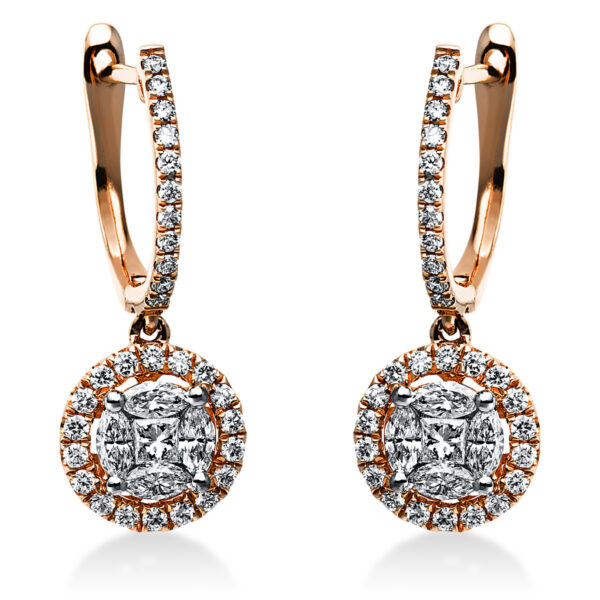 18 kt vörös arany fülbevaló 68 gyémánttal 2I902R8-2
