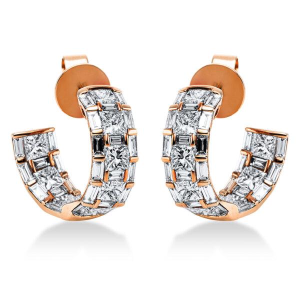 18 kt vörös arany fülbevaló 68 gyémánttal 2J913R8-1