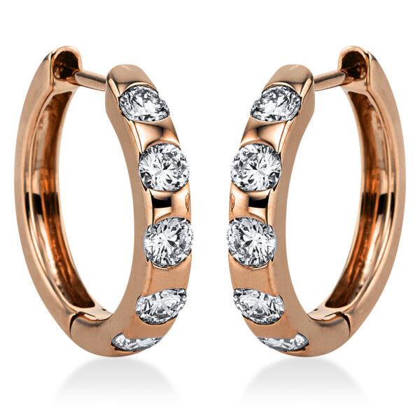 18 kt vörös arany karika és huggie 10 gyémánttal 2J984R8-1