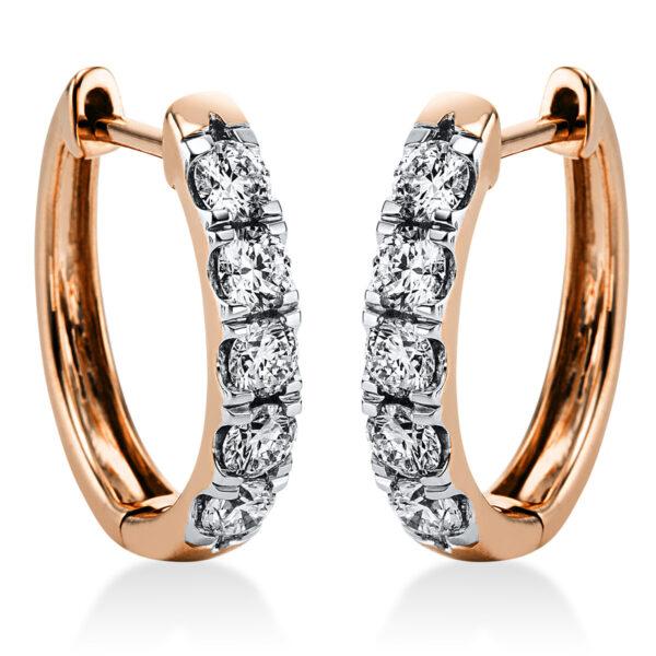 18 kt vörös arany karika és huggie 10 gyémánttal 2K086R8-1