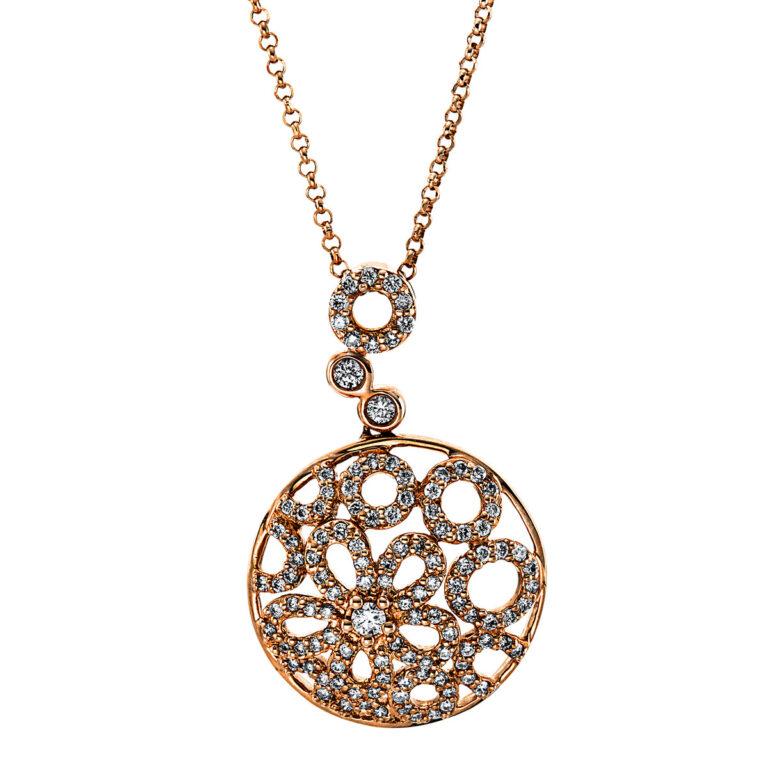 18 kt vörös arany nyaklánc 117 gyémánttal 4G140R8-1