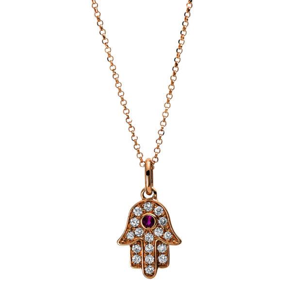 18 kt vörös arany nyaklánc 18 gyémánttal 4E319R8-1