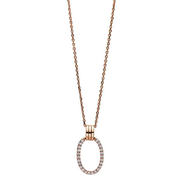 18 kt vörös arany nyaklánc 24 gyémánttal 4F097R8-1