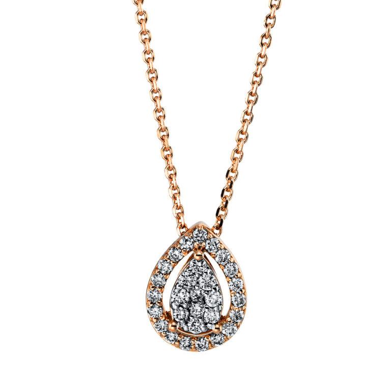 18 kt vörös arany nyaklánc 29 gyémánttal 4G348R8-1