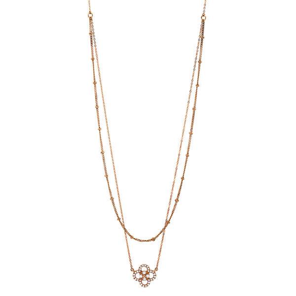 18 kt vörös arany nyaklánc 32 gyémánttal 4G145R8-1